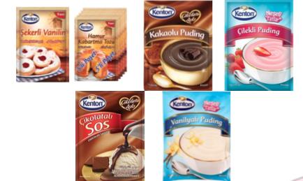 KENTON   Şekerli Vanilin - Hamur Kabartma Tozu - Çikolatalı Puding -  Çilekli Puding - Vanilyalı Puding - Çikolatalı Sos